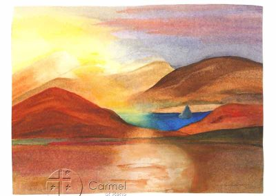 A painting of Pyramid Lake by Sister Carol Sachse