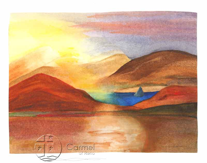 A painting of Pyramid Lake by Sister Carol